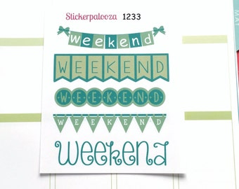 March Weekend Banners, Green Weekend Banners, St. Patrick's Day Stickers,  Erin Condren March Stickers 1233