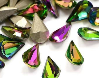 10 piece rhinestone drop 7.8 x 13 mm medium Vitrail