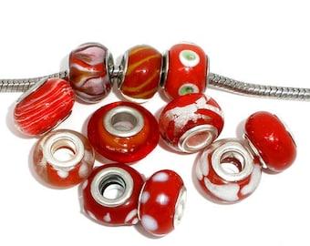 5 PCs beads mix Red