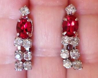 Vintage Late 1980's Rhinestones Dangle Earrings.