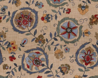 LEE JOFA KRAVET Ethnic Chic Suzani Floral Linen Fabric 10 Yards Blue Sage Multi
