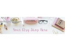 Pink and Gold Office Props Etsy Shop Banner | Styled Stock Photo for Etsy Shop Header | Blog Header