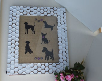 Framed dog shadows with flowers