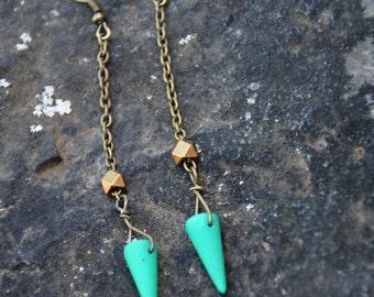 Blue Spike Earrings