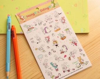Bunny Rabbit Stickers (6 sheets) / Cute Kawaii Planning Stickers / Cute Little Rabbit Stickers / Stationery / Stationary / School Supplies