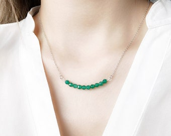 Green Onyx Necklace in Solid 925 Sterling Silver or Gold Filled, Minimalist and Modern Jewelry, Dainty & Delicate Jewellery, Gift for Her