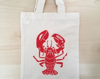 Bight Red Lobster Mini Tote Bag. Canvas Lunch Bag. Screen Printed Eco Bag. Seaside Gift Bag.