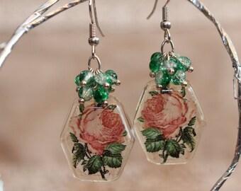 Handmade Resin Earrings, Cluster Earrings, Vintage Style Rose Earrings