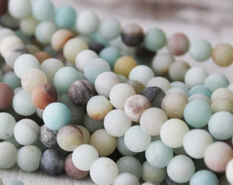 6mm Multicolored Amazonite Frosted Round Beads Full Strand Jewelry Supply Light Blue Beads