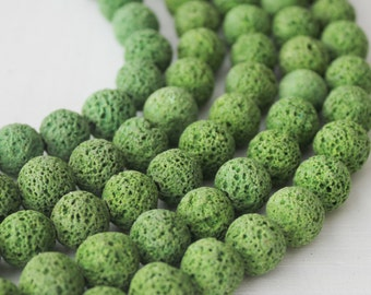 10mm Lava, Forest Green Beads, Green Lava, Round Beads, Earthy Beads, Volcano Rock
