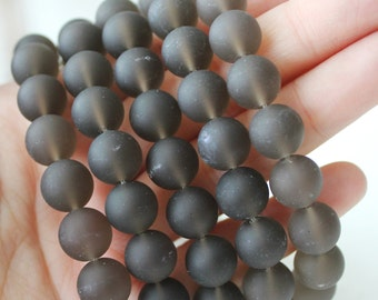 Matte Smoky Quartz 10mm Round Brown Beads Frosted Beads Jewelry Supply Gemstones