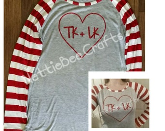 Personalized Women's Valentine's Day Raglan long sleeve shirt