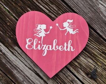 """Fairy Heart 9"""" Personalized Kids Room Sign, Baby's Room, Nursery. Girls Birthday Gift. Hand Painted - Custom Made Options Available!!"""
