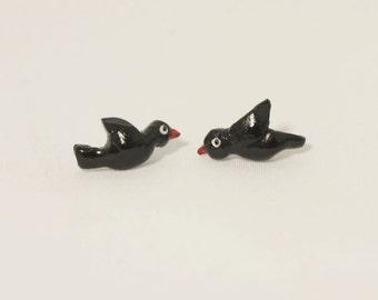 Black Bird Studs/Earrings (Polymer Clay) Handmade Animal Jewelry