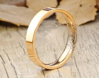 Your Actual Finger Print Rings, Handmade Gold Flat Finger Print Ring, Wedding Band, Women Ring, Titanium Ring, Anniversary Ring