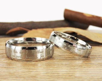 Handmade Your Marriage Vow & Signature Rings Wedding Rings, Matching Wedding Bands, His and Her Wedding Rings Set