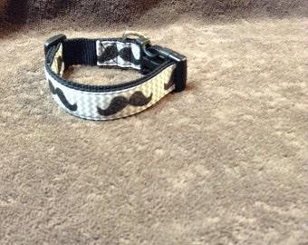 Dog Collar Mustache Dog Collar Adjustable Dog Collar 1 inch wide collar