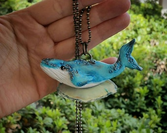 SALE! Humpback Whale polymer clay necklace//gifts for her//nautical//agate//sealife//beach jewelry//handmade//crystals
