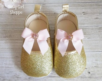 Pink and Gold Baby Shoes - Pink and Gold First Birthday - Pink and Gold First Birthday Outfit - Pink and Gold Birthday Outfit