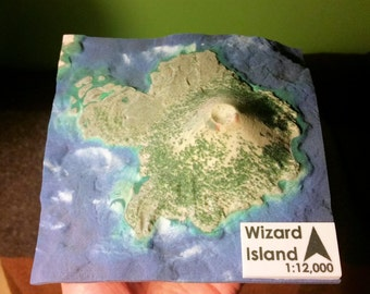 Wizard Island, Crater Lake Oregon - 3D Printed Relief Map