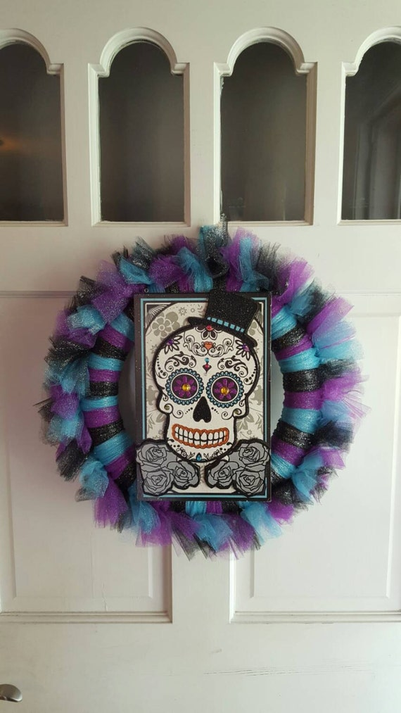 Sugar Skull Wreath by HandsontheSpindle on Etsy