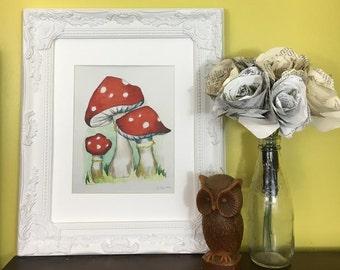 Toadstool-watercolor woodland toadstool nursery print