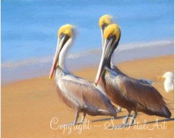 Beach Wall Decor, Pelican Art Print, Beach Wall Art, Beach Cottage Decor, Ocean Wall Art, California Coastal Blue Tan - Three Pelicans