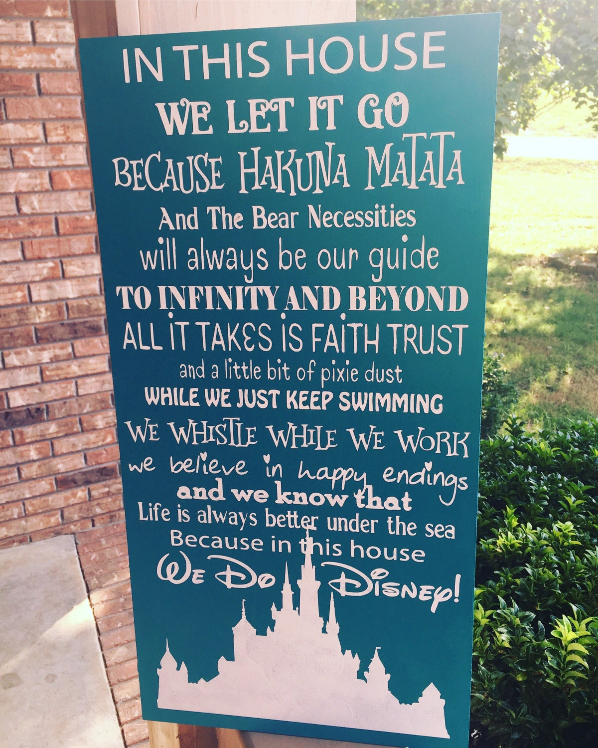 In This House We Do Disney 12x24 Hand Painted Wood Sign