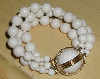 Vintage 3-Strand White Beaded Bracelet with Goldtone Ornate Clasp- Signed Marvella