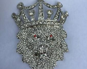 Large Vintage Rhinestone Lion Head With Crown Belt Buckle