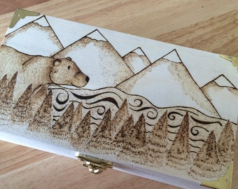 Mountain scene trinket box, small wooden box, decorated wood box, wood burned box, pyrography box, bear, mountain, custom box, keepsake