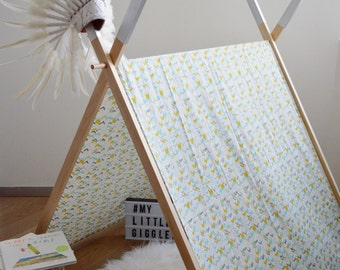 My Little Giggles A Frame Kids Play Tent / Teepee With Clothes Rack Conversion 120cm - Metallic Geo - Organic Cotton