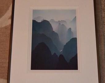 "1980s China, Guilin, ""Huangshan Mountains"", original framed photo signed by Kubota"