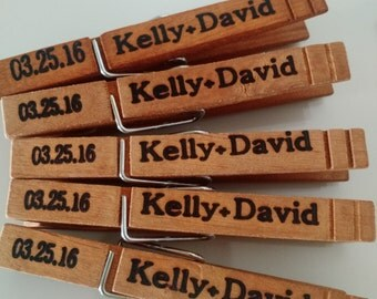 Set of 25 - Personalized Clothespins//Wooden Clothespins//Wedding Clothespins//Party Clothespins//Costum Clothespin//Wedding Favor