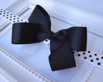 Black White Polka Dot Headband, Baby Headband, with Black bow, Girls hair accessories, COCO