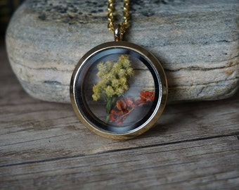 "Glass Locket ""Flowers"""