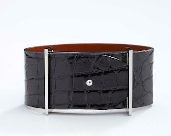 Genuine Alligator Luxury Bracelet in Black- Exotic Leather