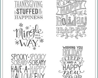 Stampin Up! Mingle all the Way Wood Mount Stamp Set