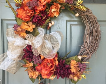 DISCOUNTED TO SELL! Fall grapevine floral wreath with mesh bow, year round front door wreath, door wreath, fall wreath, spring wreath