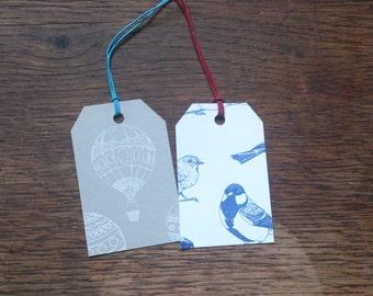 Handmade screen-printed gift tags
