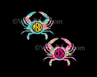 Crab Decal-Crab Monogram Decal-Yeti Decal-Circle Monogram Decal-Laptop Decal-Car Window Decal