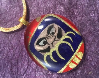 Blue Daruma Japanese Chiyogami and Glass Pendant