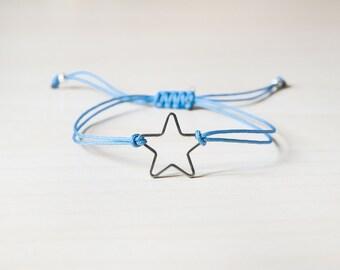 Star bracelet, bracelet with star, silver plated star, small star, wish bracelet, silver star - sterling silver