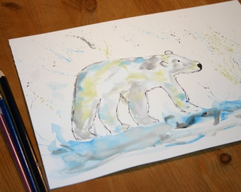 Polar bear original watercolour, polar bear art, polar bear watercolor, polar bear, polar bear painting