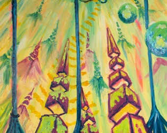 "Space Pyramids 7 1/2 x 18"" Original Art Giclee Print"