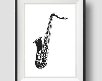 Saxophone Art, Black Saxophone, Jazz Art, Home Wall Art, Printable Art, Home Wall Art,Digital Art Print