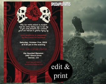 Halloween Party Invitation | Halloween Costume Party, Gothic Halloween Party, Skulls & Red Rose INSTANT DOWNLOAD