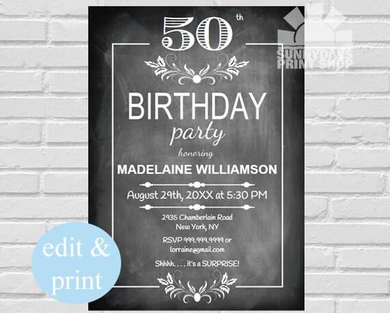 50th Surprise Birthday Invitation Chalkboard Mans