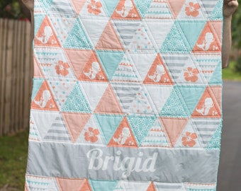Mermaid Name Quilt with Minky Backing