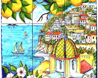Ceramic Murals For Kitchen Backsplash - Coast of Positano Italy - Hand Painted Art Tile - Bathroom Tile Wall Art - Outdoor Wall Tiles